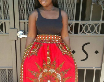 SALE: African clothing, African skirt, african skirts, ankara skirt, ankara, african maxi skirt, african print skirt, dashiki, ms alaba, red