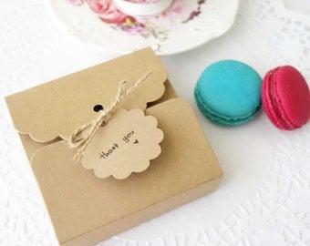 Kraft Gift Boxes (Set of 10) • Jewellery Box • Wedding Favour • Christening • Bomboniere • Macarons • Cookies • Slice Cake • Favor Box