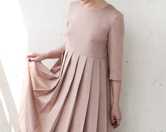 Dusty rose romantic and elegant dress with long sleeves, pleated skirt, vintage inspired bridesmaid dress, wool winter dress, evening dress