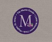 Return Address Label - Purple Flowers // Floral Return Address Label // Circle Return Address Label // Custom Return Address Label