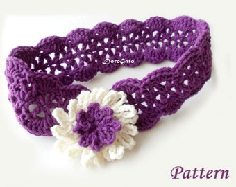 Crochet Headband Pattern, Baby Crochet Headband Pattern, Cornflower Headband, Baby To Adult Sizes, Tutorial Pattern, Instant Download /3006/