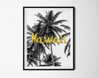 hawaii, hawaii wall art, wall art, hawaii art, wall decor, hawaii poster, hawaii skyline, home decor, printable hawaii, travel poster