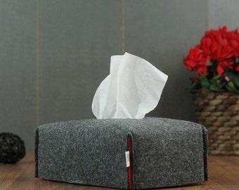 Housewarming Kleenex dispenser made from dark grey felt, Tissue box cover, Minimal Kleenex box cover