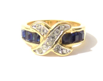 Synthetic sapphire ring, Fashion rings, Gold vintage ring, gold ring, vintage ring, gold sapphire ring, vintage sapphire gold ring
