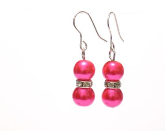 pink pearl earrings, earrings, pearl earrings, pink earrings, dangle earrings, bridesmaid earrings, drop earrings