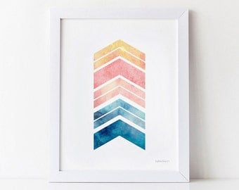 Geometric PRINTABLE Wall Art Print, Bedroom decor, Girls Room Decor Pink and Blue Chevron Arrows Art Print, Home Office Decor, Wall Print