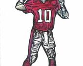 Eli Manning Red Jersey   Ole Miss Football Woodblock Print