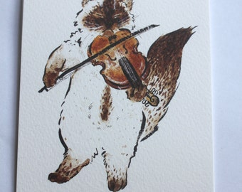 Pack of 4 Ragdoll cat Playing the Violin Postcards- Ragdollcat- Floppy Cat- Puppy cat- Classical music- fiddle- post- card