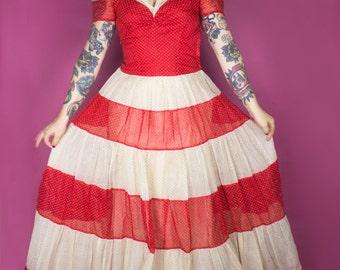 1940s Dress / 40s Striped Swiss Dot Gown / 30s Polka Dot Party Dress