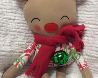"SALE Handmade Christmas Reindeer Rudi 18.5"" Winter Holiday Plush Softie"