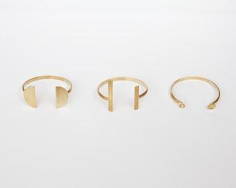 Modern statement cuff bracelet in brass, choose between 3 designs (sold individually)