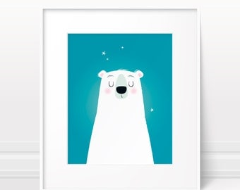 Nursery wall art - Polar bear print