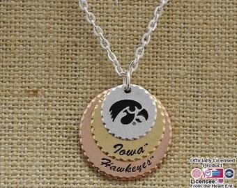 Iowa Hawkeyes Stamped Disc Necklace