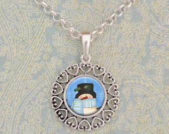 Snowman in a Hat Dome Necklace - 57284