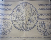 Art Deco Flowers and Borders - Vintage Iron-on Embroidery Transfer