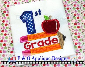Back To School 1st Grade Pencil Apple Digital Applique Design - Machine Applique