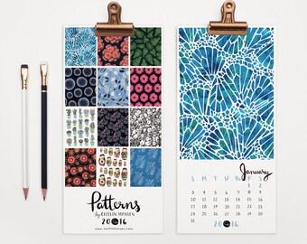 2016 Calendar, Wall Calendar, Pattern Calendar, Christmas Gift, Holiday Gift, Hand Lettering, Illustrated Calendar, 5 x 11 Calendar