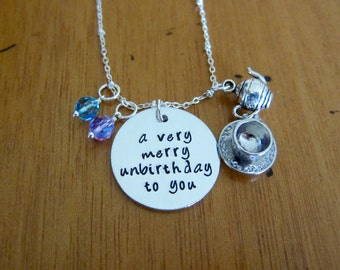 Wonderland inspired unbirthday necklace. A very merry unbirthday to you! Hand stamped. Tea Party. Fairytale Jewlery