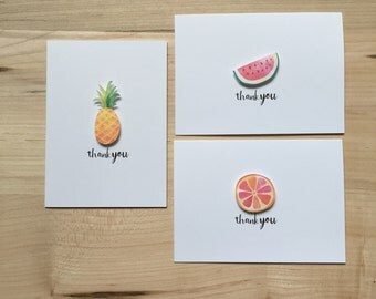 Assorted Fruit Thank You Cards, Cute Thank You Card Set, Thank You Notecards | Set of 8