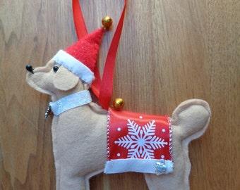 Handmade cream felt Christmas Poodle dog hanging decoration