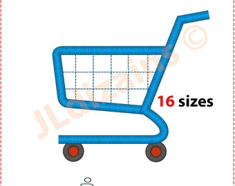 Shopping Cart Embroidery Design. Shopping cart embroidery. Trolley embroidery. Buggy embroidery design. Machine embroidery design