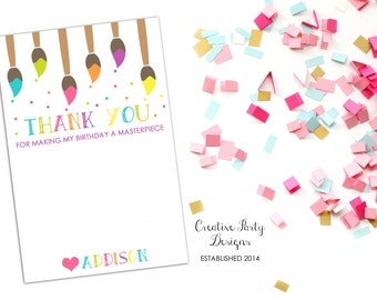 Art Birthday Party Thank You Note - Art Themed Thank You Note - Rainbow Art Party Thank You Notes - Paint Party - Printable - Digital File