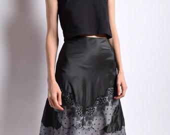1950s Black Silk Chantilly Lace Skirt 50s Vintage Scalloped A Line Skirt High Waist Floral Polka Dot Waist 24 XS