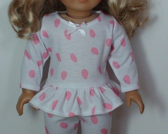 2 piece doll pajamas, 18 in doll pajamas, doll tunic with leggings, Valentines doll pajamas, 18 inch doll tunic with leggings, doll tunic