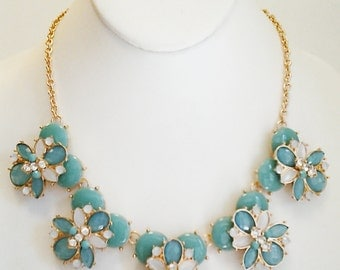 Teal and Beige Crystal Clear Necklace / Gold Chain Teal and Beige Bib Necklace.