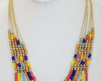 Gold Chain Multi Colored Beaded Necklace / Multi Strand Necklace.