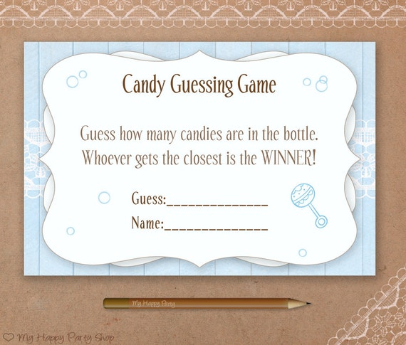 Candy Baby Shower Game: Blue Candy Guessing Game PRINTABLE Baby Shower Games Boy