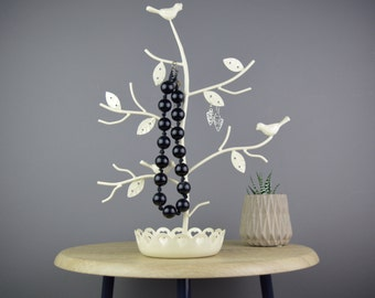 Perched Bird Necklace Stand in Cream with jewellery dish.  Personalised with a name on a bird plaque.