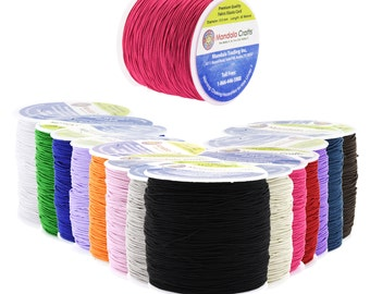 Mandala Crafts Fabric Elastic Cord Stretchy String, .6mm, 80 Meters, Many Colors Available