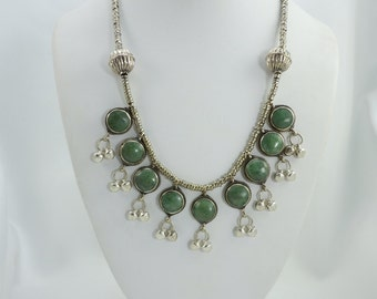 Green Jade Afghan Necklace, Bib Necklace, Tribal Necklace, Gypsy Necklace, Handmade