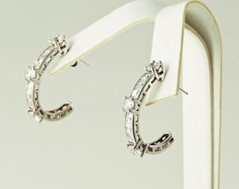 "Sterling Silver And Rhinestone ""J"" Earrings"