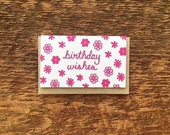Birthday Wishes, Enclosure Card, Gift Card, Mini Card, Letterpress Folded Mini Card