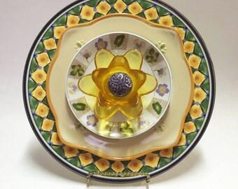 Yard Decorations - Glass Garden Flower - Lawn Ornaments - Plate Flowers - Glass Flowers - Dish Flowers - Outdoor Decor - Garden Decor