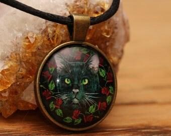 Black Cat Witch's Familiar Cat Lover Glass Cabochon Necklace Pendant Necklace