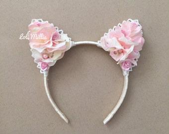 Kaori | Swarovski Floral Cat Ears | Kawaii Nekomimi Headband