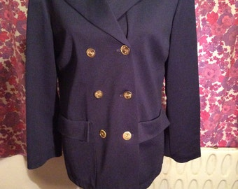 Vintage Retro 1960s 1970s Navy Blue With Gold Buttons Crimplene Jacket Blazer By Jacatex UK Size 12 14