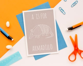 Armadillo Card / Armadillo Notecard / Animal Alphabet Card / Animal Alphabet / Blank Greeting Card / Notecard / Animal Card / Armadillo