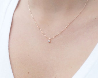 Tiny Rose Gold Necklace, Dainty Rose Gold Necklace, Rose Gold Choker, CZ Necklace, Simple Necklace, Minimalist Necklace, Bridesmaid Gift