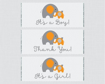 Elephant Printable Baby Shower Candy Bar Wrapper - Printable Orange Elephant Themed Hershey Chocolate Bar Wrapper Instant Download - 0024-O