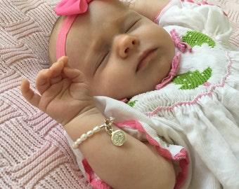 Pearl Baby Bracelet with Monogrammed Charm - Engraved Gift