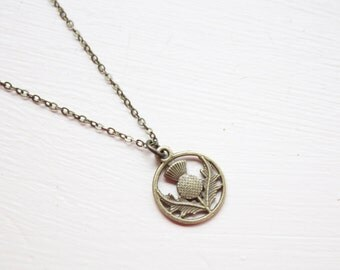 Bronze Scottish Thistle Necklace- Tiny Thistle Charm - Scotland Necklace - Double Sided Bronze