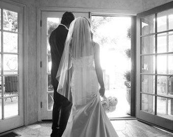 Fingertip length Wedding Bridal tulle Veil white, ivory, Wedding veil bridal Veil Fingertip length veil bridal veil cut veil Ready to ship