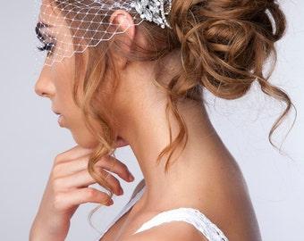 Bridal Veil and Bridal Rhinestone Crystal Comb Birdcage Veil, Rhinestone 1920's Hair Comb Bandeau Birdcage Veil, Blusher Bird Cage Veil