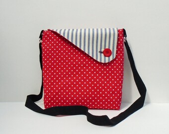 Ladies Fabric Bag, Cross Body Bag, Reversible Purse, Handmade Fabric Bag, 2 Way Shoulder Bag, Crossbody Purse, Fashion Accessory,
