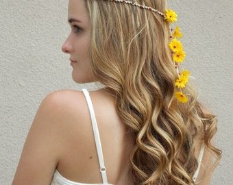 Yellow Daisy Flower Headband, Hippie Headband, Bohemian Headband, Hair Jewelry, Hemp Headband, Festival Head Piece, Floral Crown Hair Flower