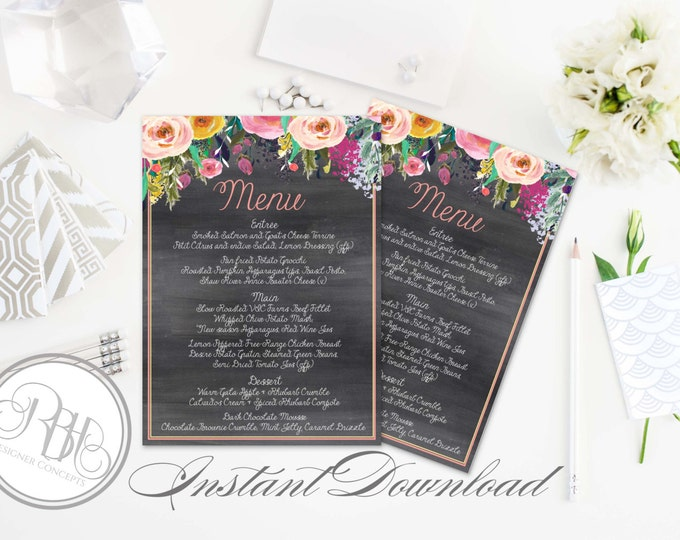 Rustic Chalkboard Menu Template - INSTANT DOWNLOAD-DIY Text Editable-5x7 Editable Text Only-Watercolor flowers with string lights-Teresa